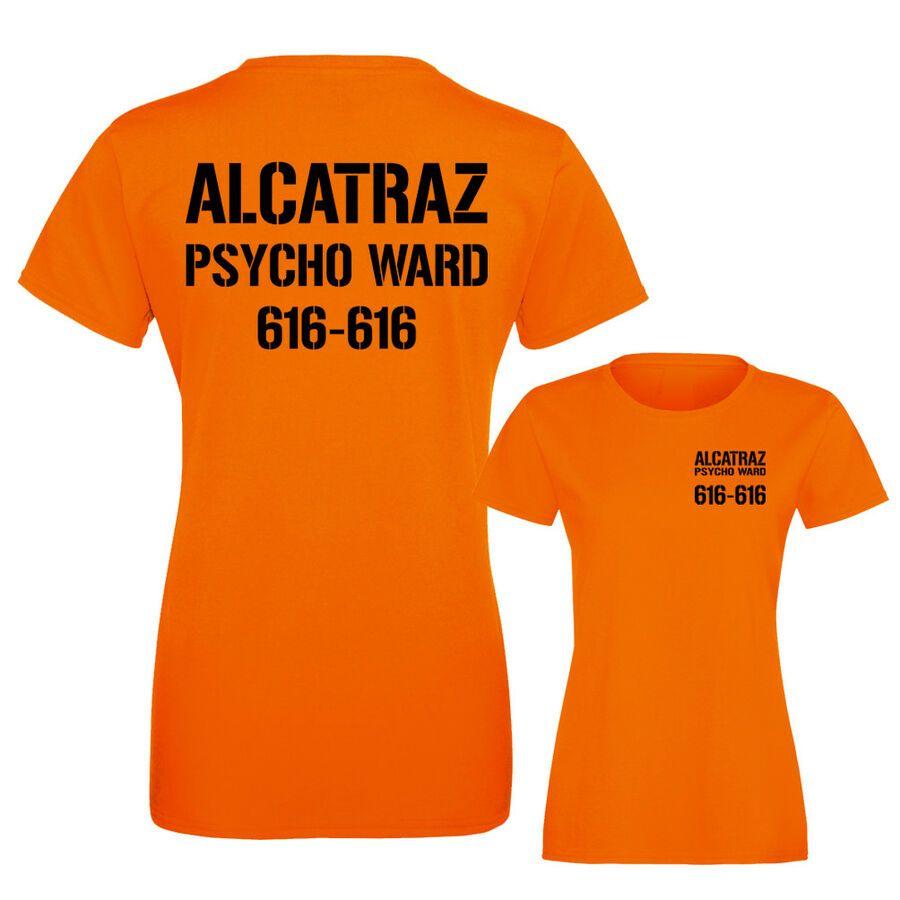 ALCATRAZ PRISON,HALLOWEEN,FANCY DRESS,FUN ORANGE T SHIRT