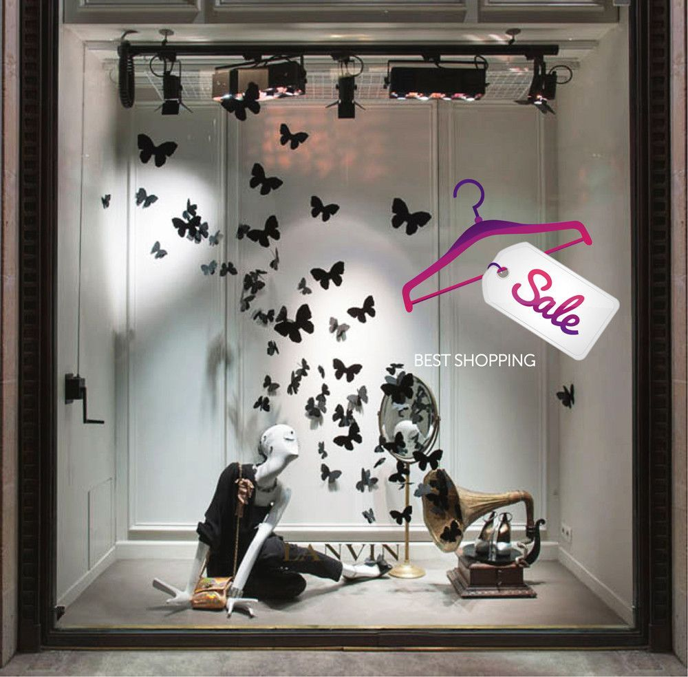 Cik960 Full Color Wall Decal Best Selling Female Shopping