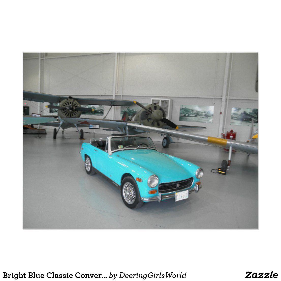 Bright Blue Classic Convertible Car Poster | Zazzle.com