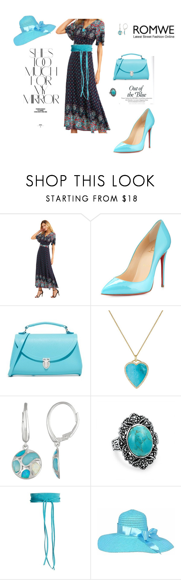 """out of the blue.."" by agnesmakoni ❤ liked on Polyvore featuring Christian Louboutin, The Cambridge Satchel Company, Jennifer Meyer Jewelry, Bling Jewelry, Mafalda von Hessen and Rika"