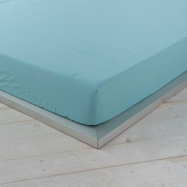Fitted bottom sheet Naturals Green - UK king size bed (150 x 200 cm)