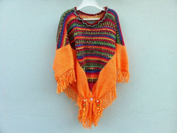 Hand crocheted warm poncho for girl with beautiful von ewairena