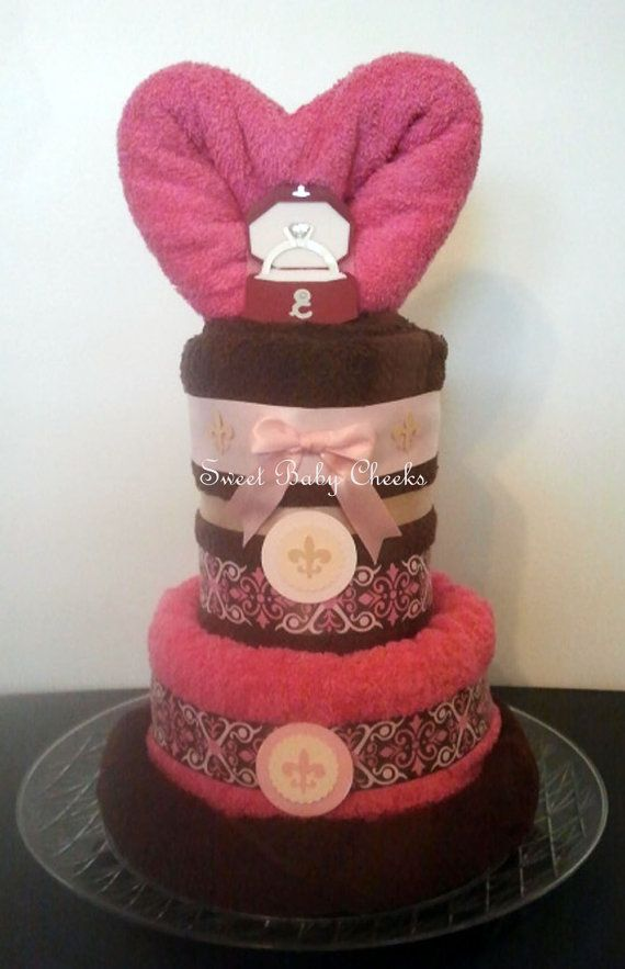 Hot Pink & Chocolate Brown Towel Cake Great for by ...
