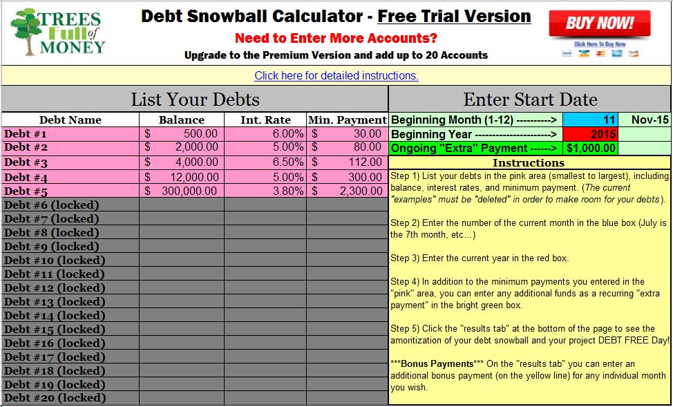 Free Debt Snowball Calculator Program Debt Snowball Debt Snowball Calculator Debt Payoff Worksheet
