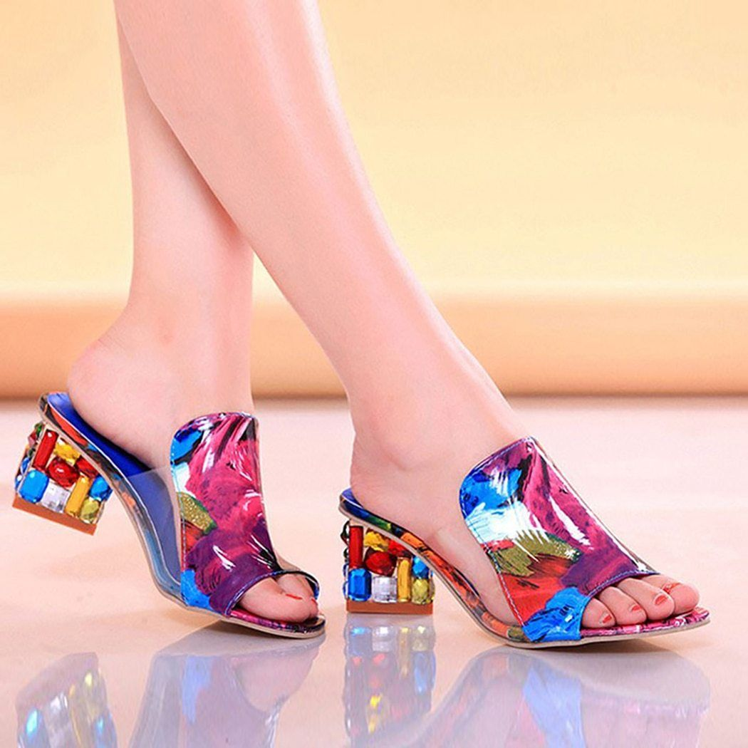 Womens Ladies Wedge Sandal Comfort Diamante Slip On Muel Mid Low Heel Girl Shoes