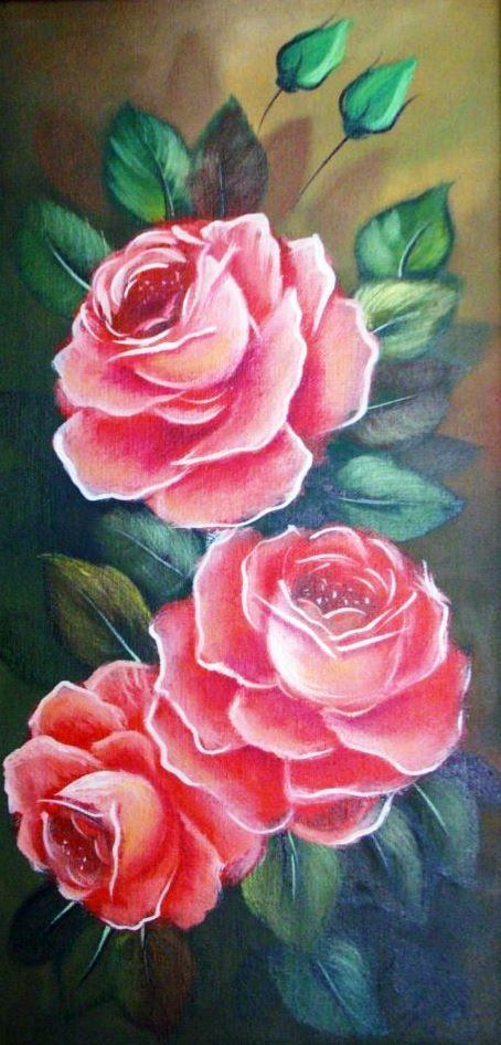 Cuadros de rosas pintadas al óleo | Bodegones y Paisajes ...