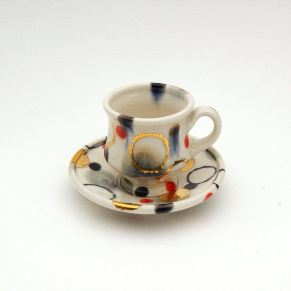 White Dappled Demitasse with Bright Gold Dots. $68.00, via Etsy.