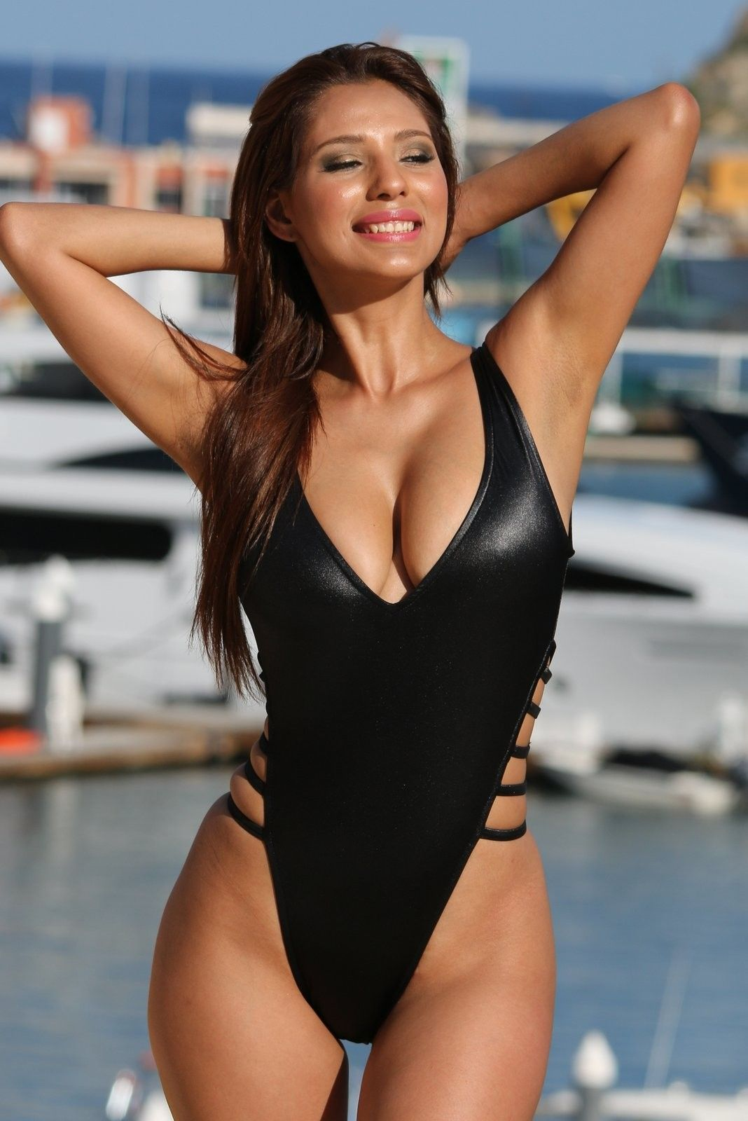 13e5cee8fd4 UjENA Strappy Slick High Cut One Piece Swimsuit. FREE Shipping with ...