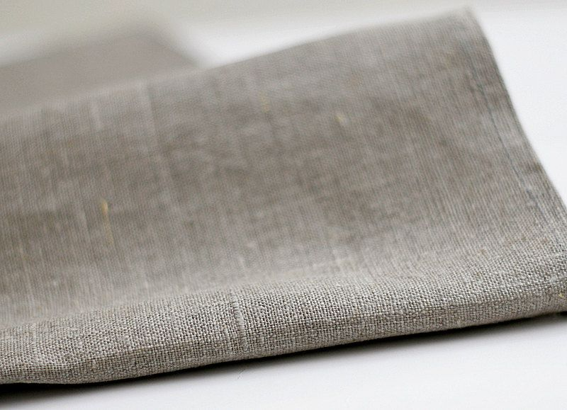 Natural Linen Tablecloth   Gray   Table Runner.