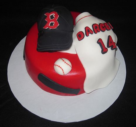 Boston Red Sox Cap And Jersey Baseball Theme Birthday CakeJPG