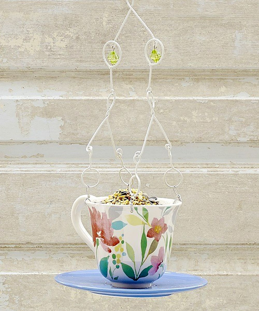 Blue Floral Teacup Bird Feeder