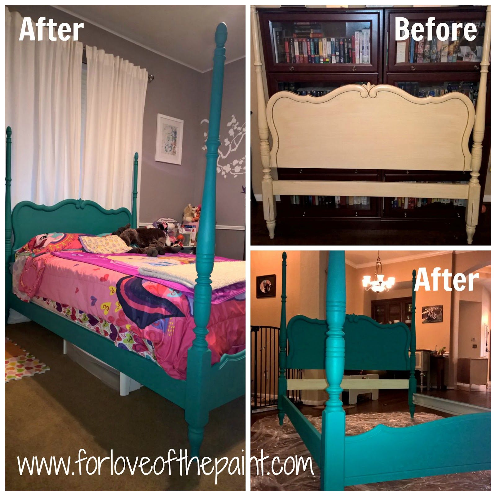 Before And After Vintage Four Poster Bed In Annie Sloan Chalk Paint Florence Morethanpaint Chalkpaint Diy Upcycle