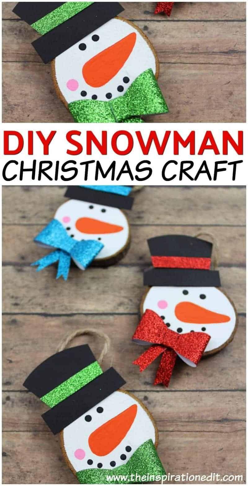 Diy Snowman Ornament For Kids Diy Snowman Decorations Christmas Card Crafts Diy Snowman