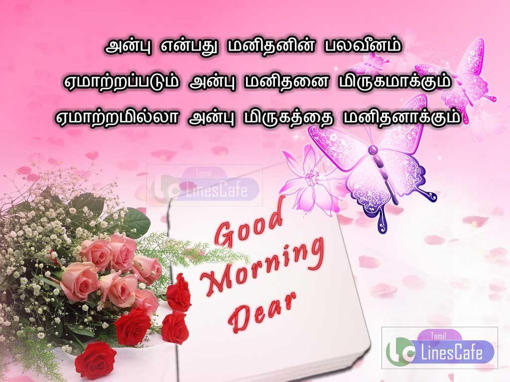 Anbu Yenbathu Manithanin Palaveenam Yematrappadum Anbu Manithanai Mirukamakkum Yematramilla Anbu M Morning Love Quotes Good Morning Love Good Morning Messages