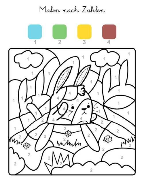 Malen Nach Zahlen Hase Ausmalen Zum Ausmalen Malen Nach Zahlen Zahlen Zum Ausmalen Hase Kindergarten