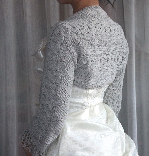 Winter 3/4 Sleeve Bolero Eco-friendly Shrug hand knit Vegan Yarn ...