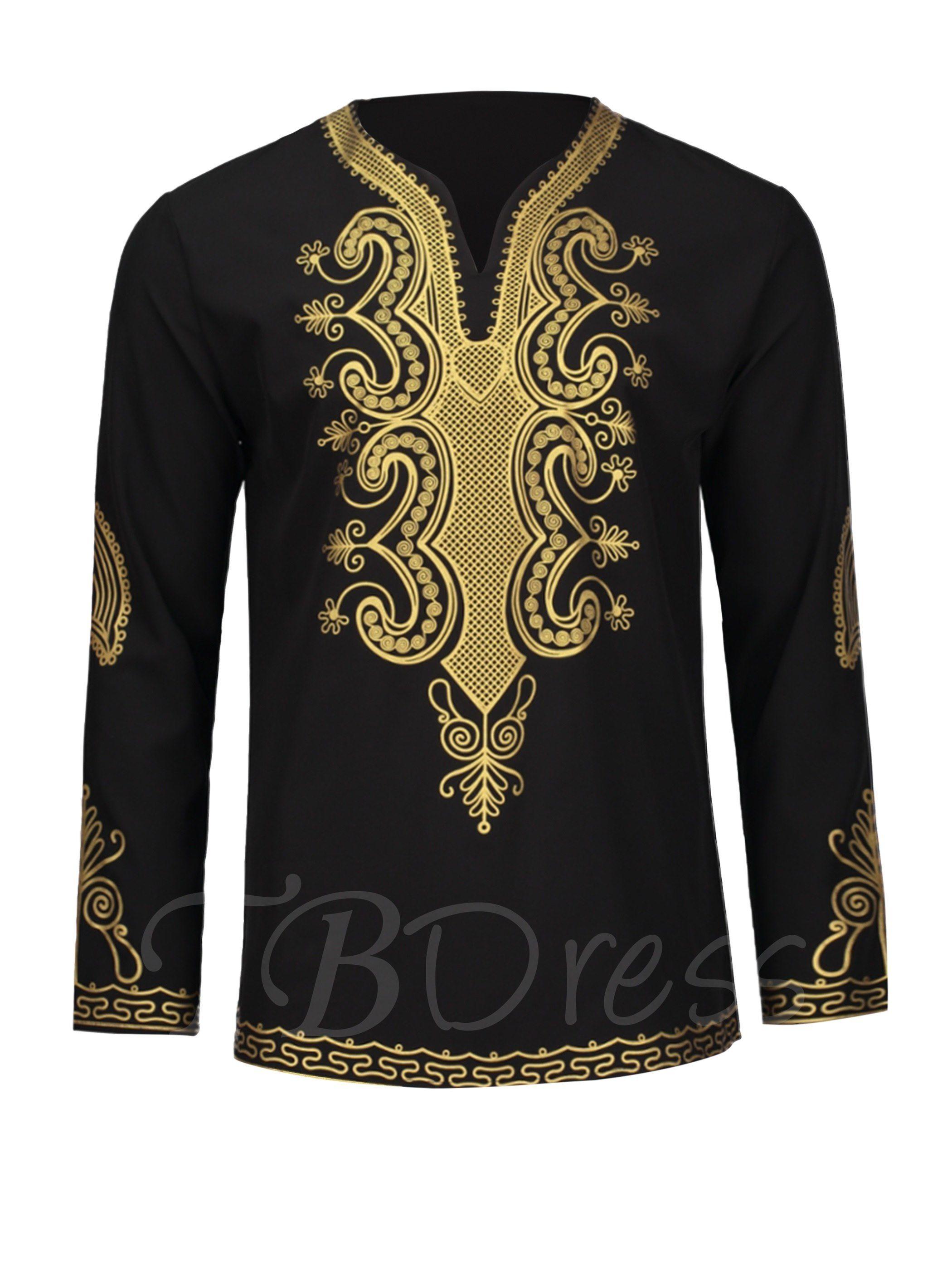 e16050785 Tbdress.com offers high quality Dashiki V-Neck Golden African Ethnic Printed  Slim Fit Men's Luxury Shirt Men's Shirts unit price of $ 24.99.