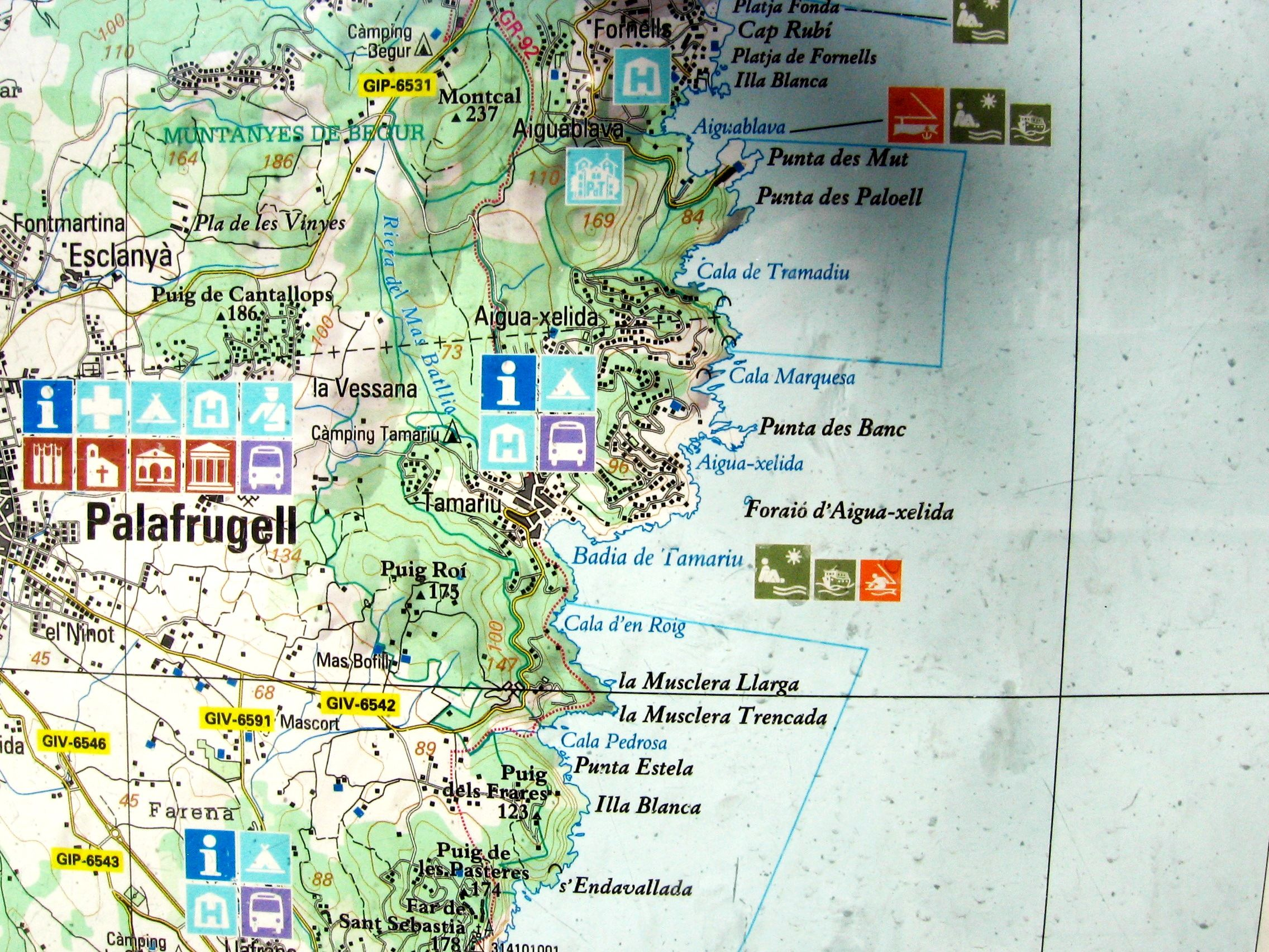 Map Of Tamariu And Surroundings Costa Brava Spain Spanje