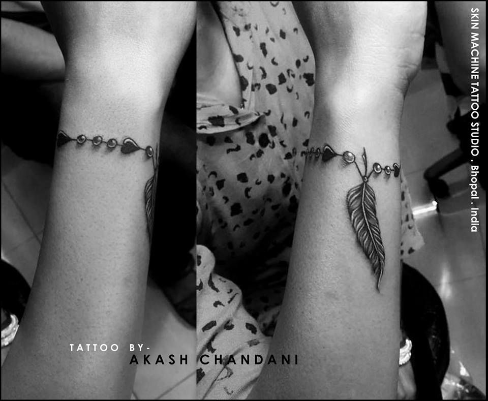 Freehand bracelet for today..  Tattoo by Akash Chandani  Thanks for looking  Your Views,Comments and Shares would be appreciated ! For more information visit and like us at - Skin Machine Tattoo Studio.. . Bhopal. India