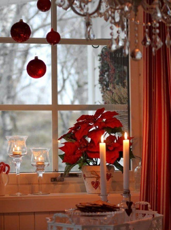 weihnachtsdeko in rot f r eine romantische feststimmung fenster weihnachtsdeko ideen und. Black Bedroom Furniture Sets. Home Design Ideas