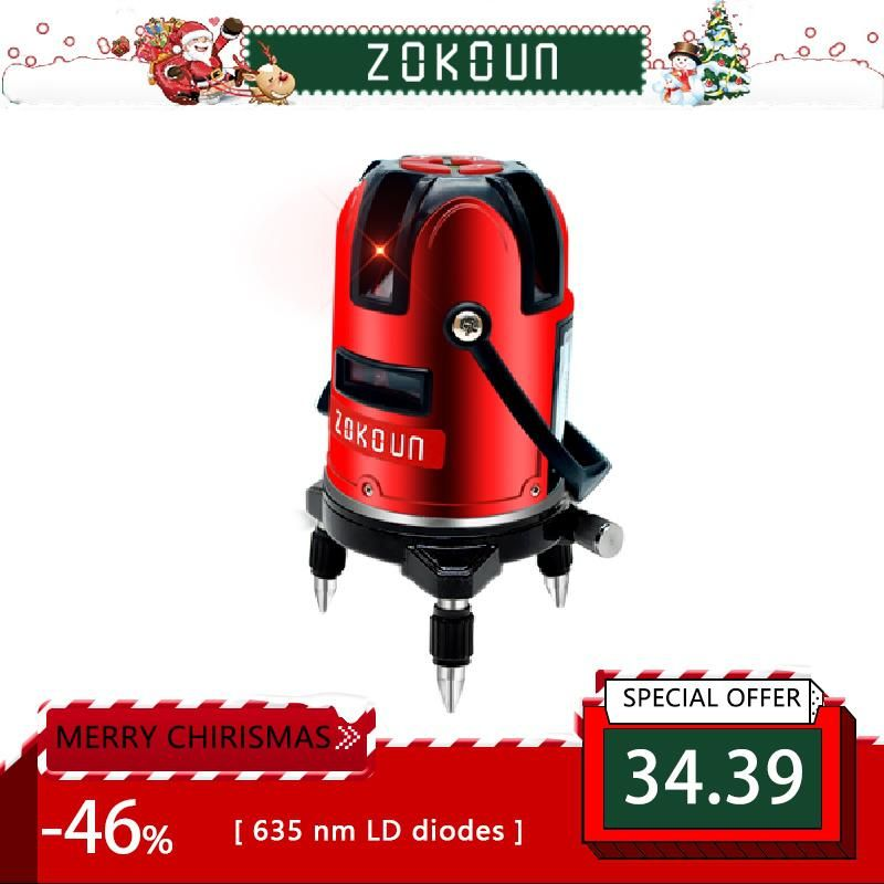 Zokoun Red Beam 5 Lines 6 Points Self Leveling 360 Rotary Cross Line Laser Level Tilt Leveling And Laser Line Receiver Available Red Beam Laser Levels Rotary