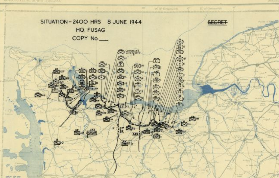 Normandy Invasion Situation Map 8 June 1944 Map