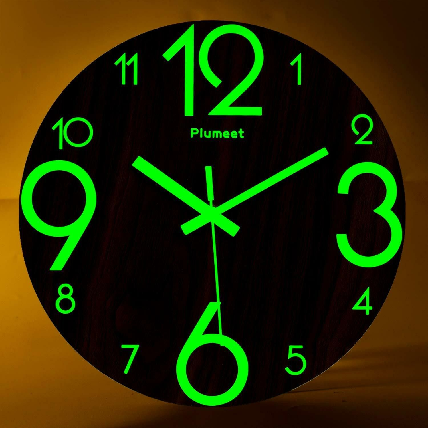 Night Light Function Plumeet 13 Inch Wall Clock With Silent Non Ticking Night Lights For Indoor Kitchen Of Large Wall Clock Glow In The Dark Clock Wall Clock