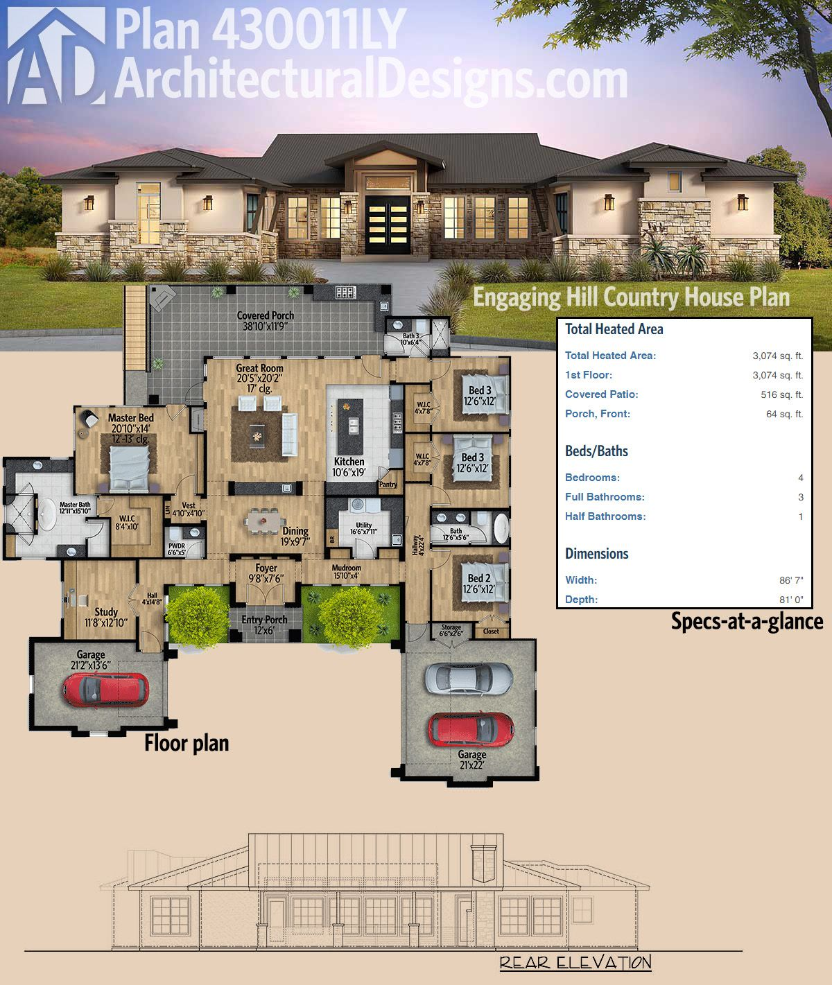 Plan 430011ly engaging hill country house plan square for Hill country contemporary house plans