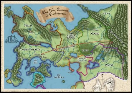 Kingkiller Chronicles Map Original Four Corners of Civilization Map | Fictional Places Maps