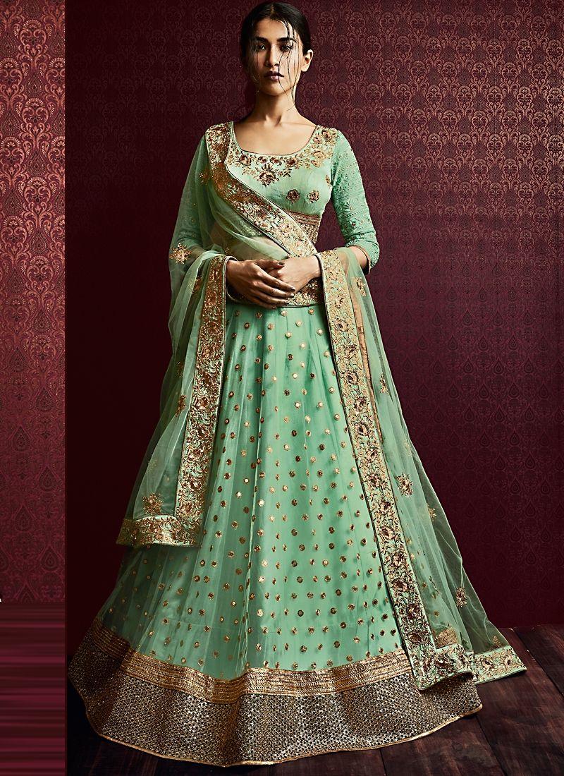 1605bc7ba66e5c Buy Vivid Light Turquoise Net Designer Lehenga Choli in UK
