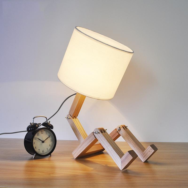 Creative Robot design Wooden Base Foldable Table Lamps in
