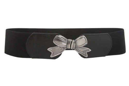 3'' Wide High Waist Bow Tie Fashion Stretch Belt Size: S/M 29''-34'' Color: Black Made by #beltiscool Color #Black