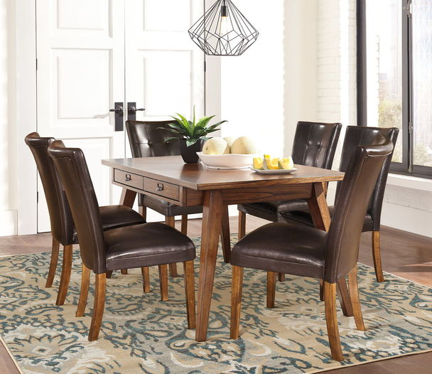 Centiar Two Tone Brown 7 Pc Rectangular Table 6 Lacey Upholstered Side Chairs Rectangular Dining Room Table Upholstered Side Chair Dining Room Sets