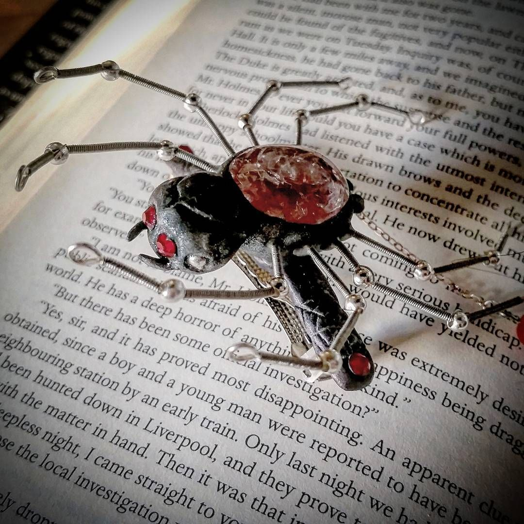 Spider French Barrette. Polymer clay and wire creation. Black widow ...