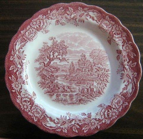 Decorative Dishes - Red Pink Toile Transferware Bridge Women Tree Daisy Plate M, $19.99 (http://www.decorativedishes.net/red-pink-toile-transferware-bridge-women-tree-daisy-plate-m/)