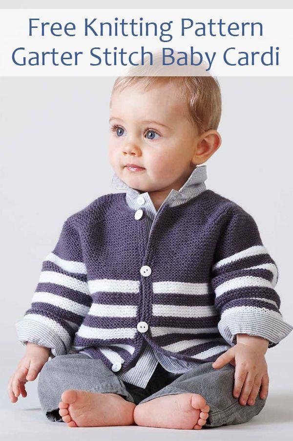 Striped baby jacket knit flat in garter stitch in just 3 ...