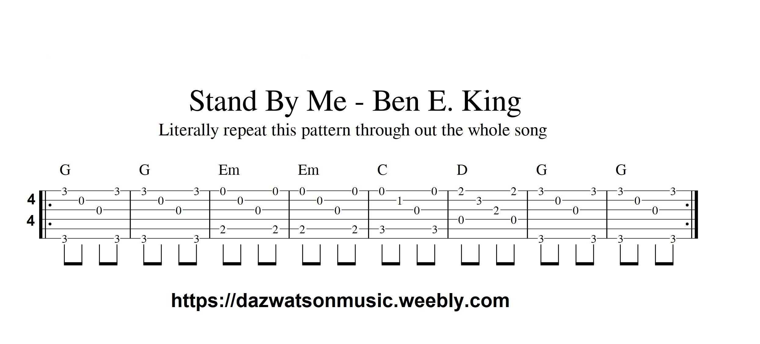 Stand By Me Easy Fingerstyle Guitar Tab With Images