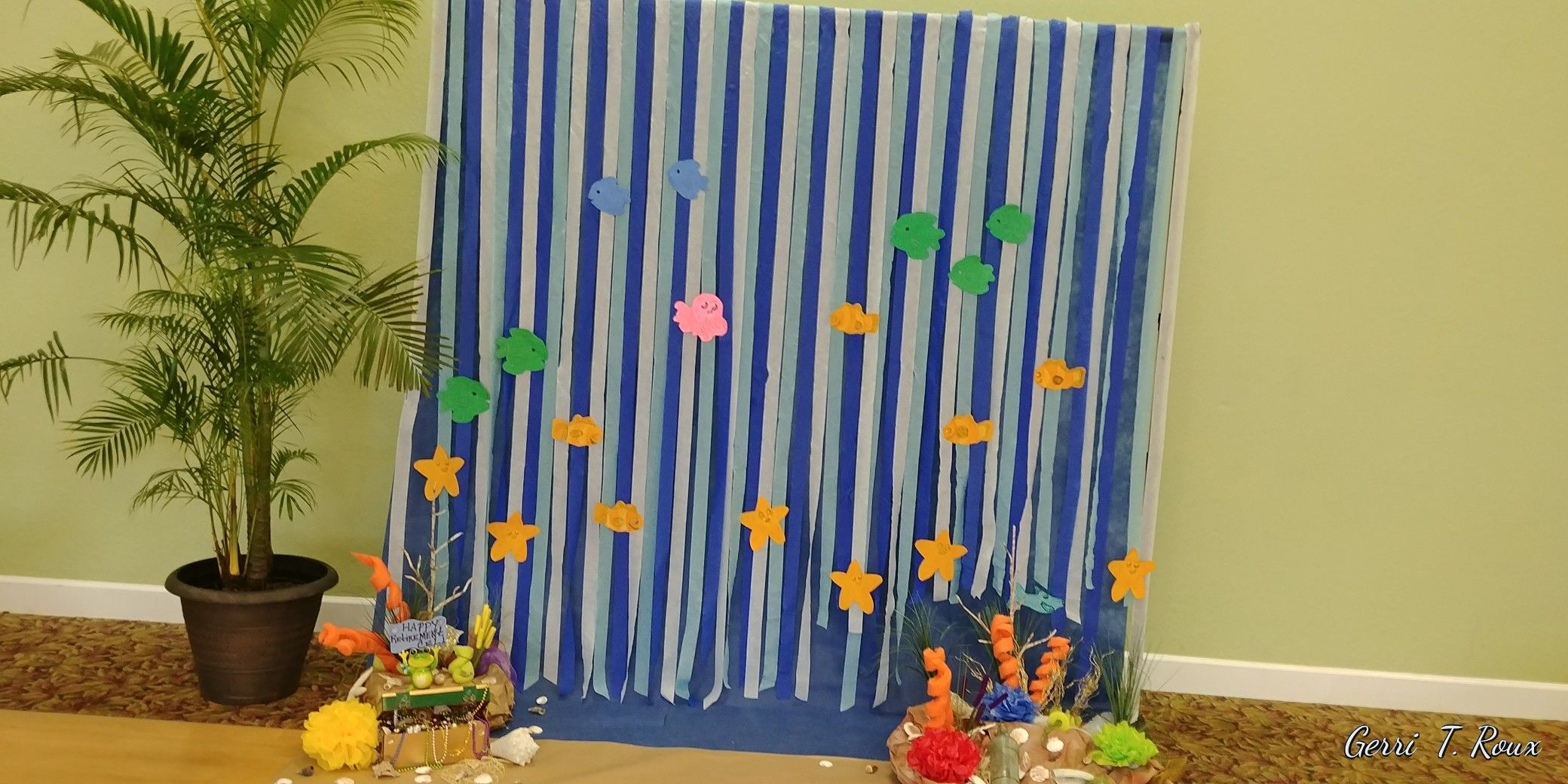 Photo backdrop for a beach theme. Created by Gerri Roux