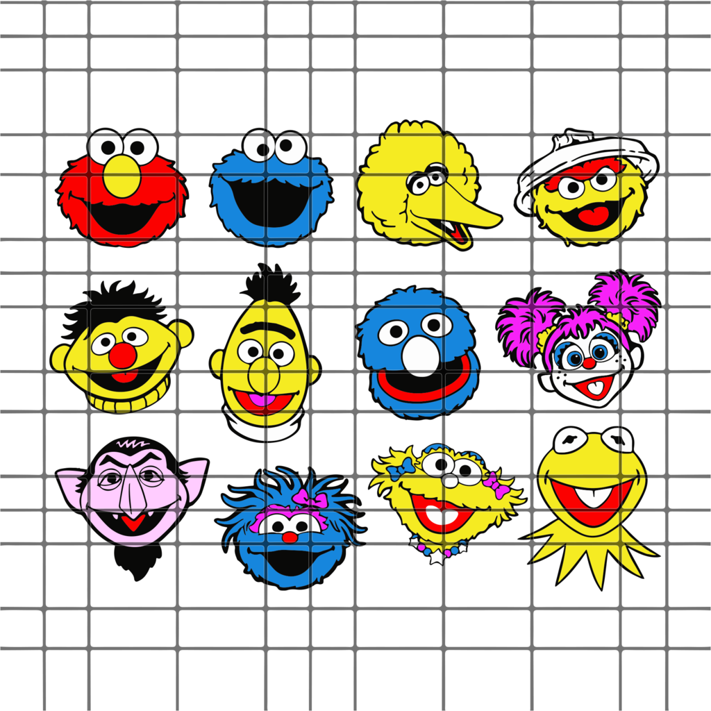 Sesame Street Face Head Bundle Svg Dxf Eps Png Instant Download Sesame Street Svg Cricut Vinyl