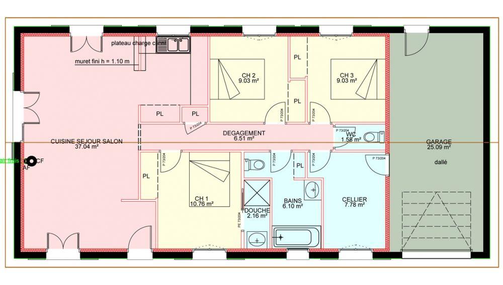 Maisons plain pied 3 chambres de 90 m² construite par Demeures Familiales | Maison plain pied ...