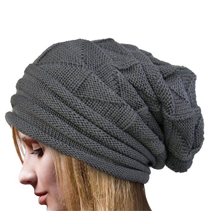 Molly Women's Winter Beanie Knit Crochet Ski Hat Oversized Cap Hat Warm Beige at Amazon Women's Clothing store: