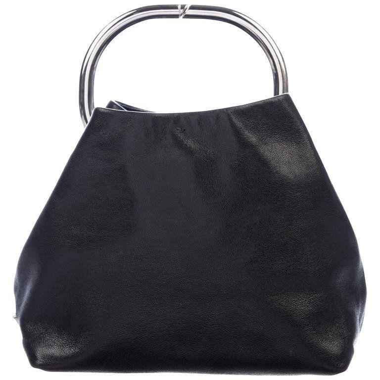 a5b65b2b6922 Prada Black Leather Silver Metal Top Handle Small Party Evening Satchel Bag  #blackleatherpursesonsale