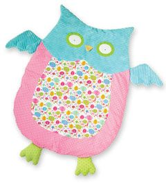 """owl play mat  Your owlet will happily play or nap on this feathered friend. Delightfully soft, the quilted mat is made of a variety of bright colors and prints. Approximately 35"""" x 28"""". Polyester, polyfill. Surface wash. Imported.  #37084  $58.00"""