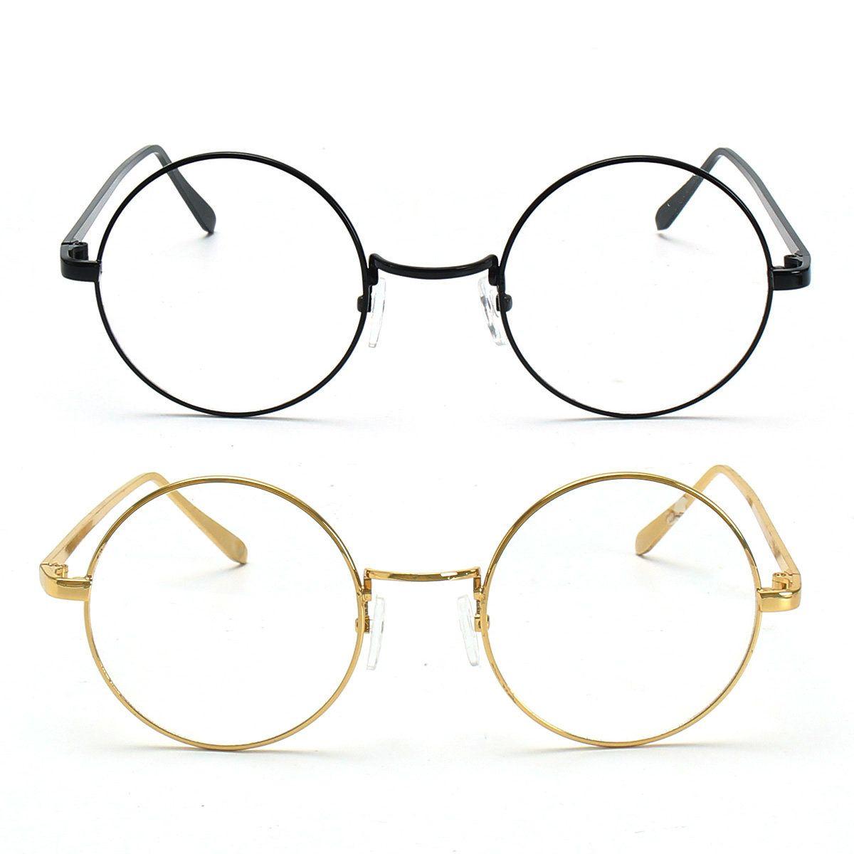 eb02580c80ef GOLD Metal Vintage Round Eyeglass Frame Clear Lens Full-Rim Glasses -  Banggood Mobile
