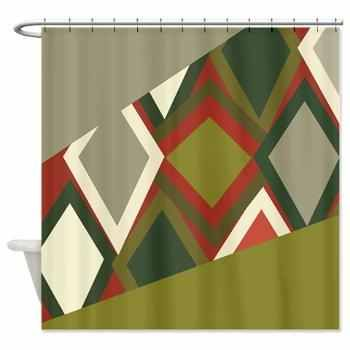 Uzbek Olive Green And Tomato Red Shower Curtain Trendy