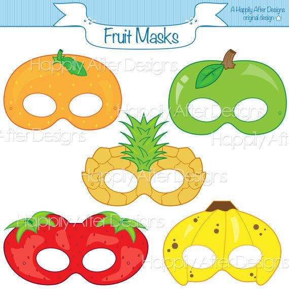 Fruits Printable Masks, strawberry mask, banana mask, orange, apple, pineapple, fruit costume mask,   - Party Printables, Ideas, and Decor! -