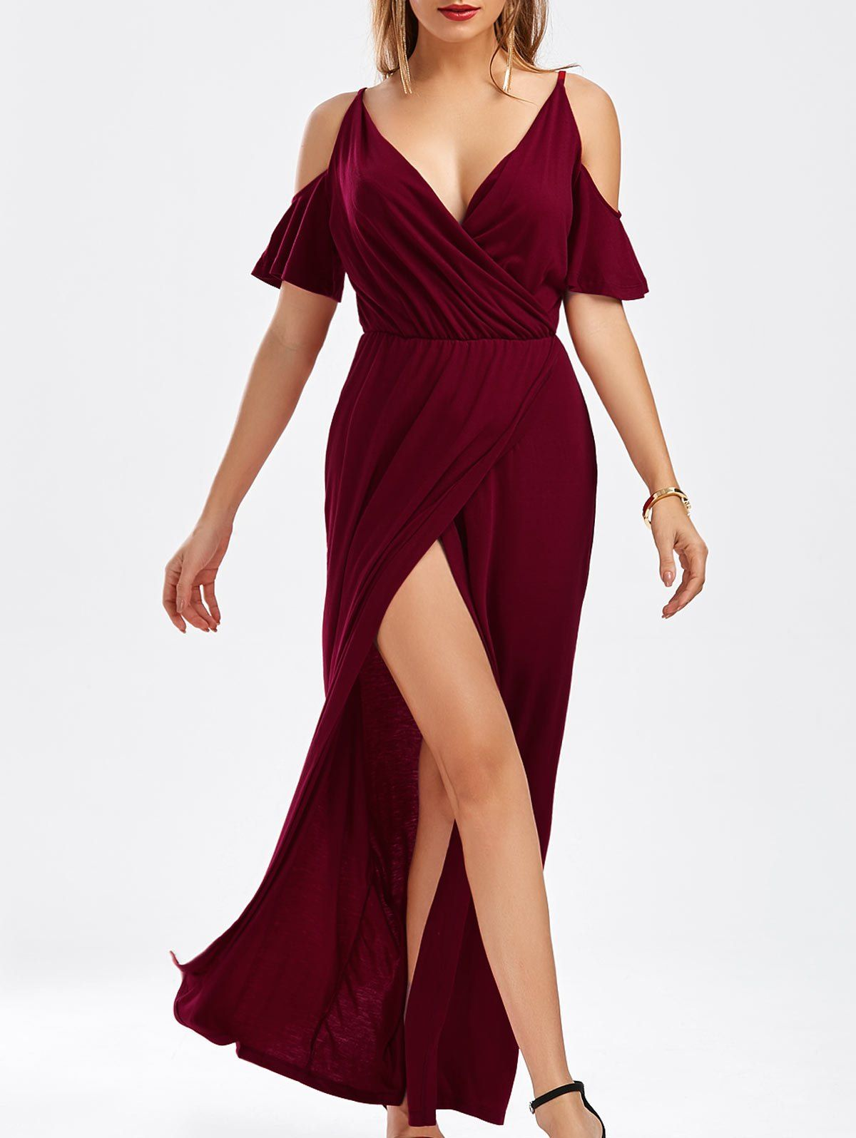 V neck floor length slit cold shoulder dress cold shoulder