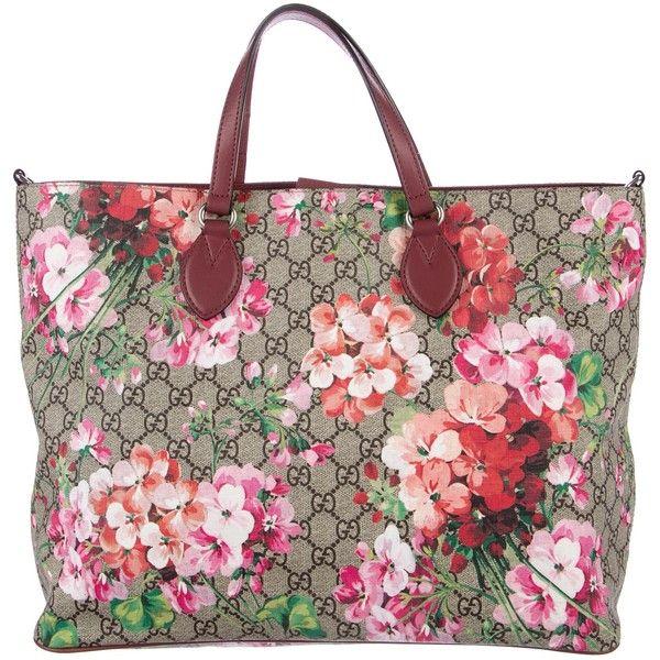 Pre Owned Gucci Soft Gg Blooms Tote Featuring Polyvore Women S Fashion Bags Handbags Tote Bags Neutrals Gucci Monogram Bag Gucci Handbags Gucci Monogram