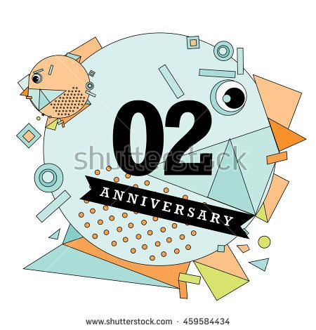 2nd years greeting card anniversary with colorful number and frame 2nd years greeting card anniversary with colorful number and frame logo and icon with circle m4hsunfo
