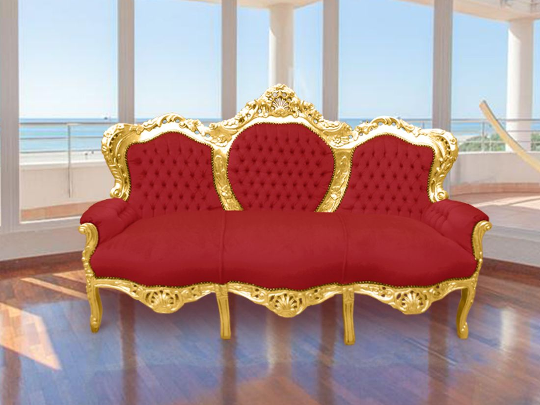 Sensational Baroque Sofa Fabric Red Burgundy Velvet And Gilded Wood In Machost Co Dining Chair Design Ideas Machostcouk